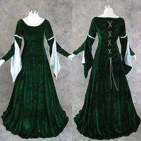 Green Velvet Medieval Renaissance Gown Dress Costume LOTR Wedding L Cosplay LARP
