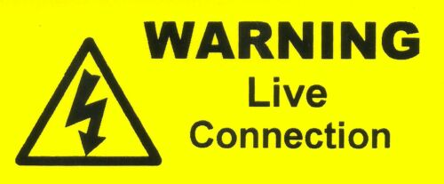 50 Mini Warning Live Connection Labels 70 x 30mm Stickers