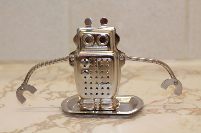 HIC robot hanging tea infuser stainless steel with drip tray