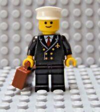 LEGO Classic Town City Airline Pilot Black Uniform wth White Hat Briefcase
