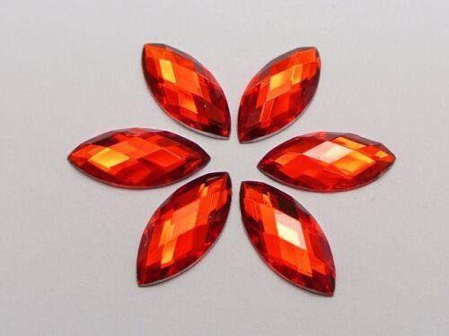 Flatback Acrílico Rojo 100 diamantes de imitación de ojo de caballo Gemas 9X20mm sin agujero
