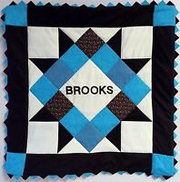 Personalized Blue & Brown Baby Boy Quilt Kit With Pattern