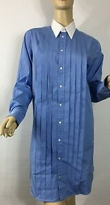 Polo-Ralph-Lauren-Monogrammed-Shirt-Dress-4-Blue-White-Cotton-Pleated