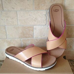 0a1f9af5d43 Details about UGG KARI NATURAL LEATHER SLIDE IMPRINT SANDALS SIZE US 6  WOMENS NIB