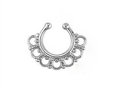New Unisex Goth Non-Piercing Fake Septum Nose Lips Ring Spring Clip Hoop Earring