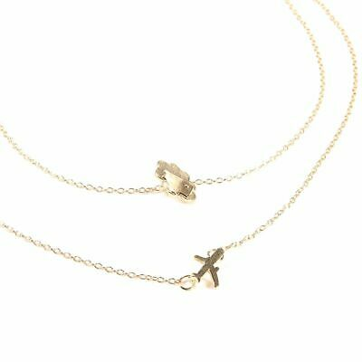 Charm Airplane Pendant Gold Layered Necklace For Women Tiny Dainty Necklace Gift
