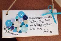 Personalised Handmade Plaque - Grandparents Christmas Keepsake Gift Gran Present