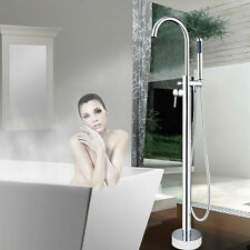 US Chrome Floor Mounted Free Standing Bathroom Tub Faucet Tub Filler Mixer