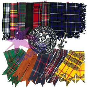 Cc Kilt Patta a Quadri 122cm x Stile Scozia Highland Spilla Quadri/Flashes/ Pin