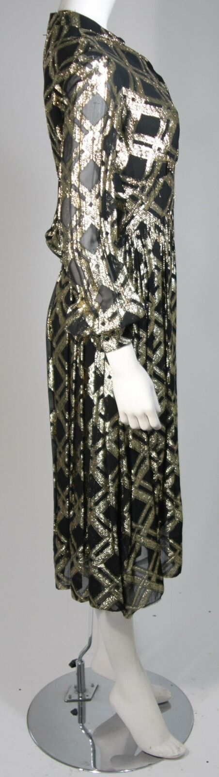 CEIL CHAPMAN Black Silk and Gold Cocktail Dress S… - image 6