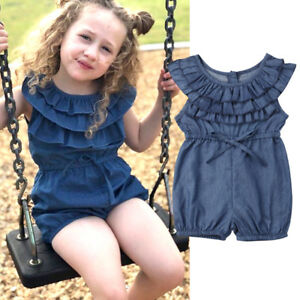 a26f86875 Toddler Kids Baby Girl Princess Ruffle Denim Romper Jumpsuit Outfits ...