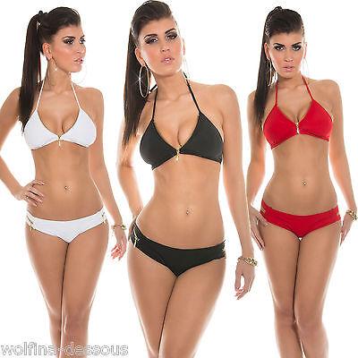 Sexy Damen Bikini Set Neckholder Triangle Badeanzug Bademode weiß schwarz rot