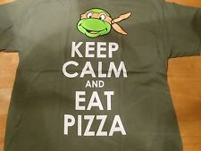 TMNT TURTLES MICHAELANGELO KEEP CALM AND EAT PIZZA KHAKI  TEE SIZE:S ***NEW***