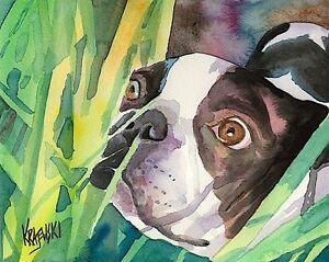 Boston-Terrier-Dog-11x14-signed-art-PRINT-RJK-painting