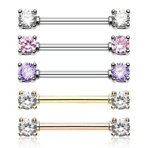 A Pair of Golden Double Prong Gem Nipple Barbell Ring Clear Gem
