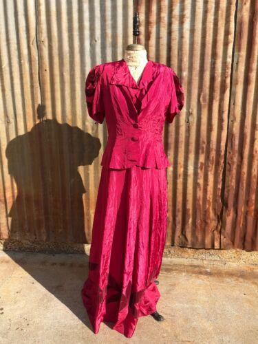 Antique 1930s Pink Fuchsia Rayon Dress & Jacket Fl