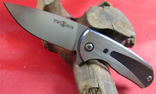 TwoSun Mini D2 Titanium Handle Ball Bearings Fast Open Pocket Folding Knife TS81