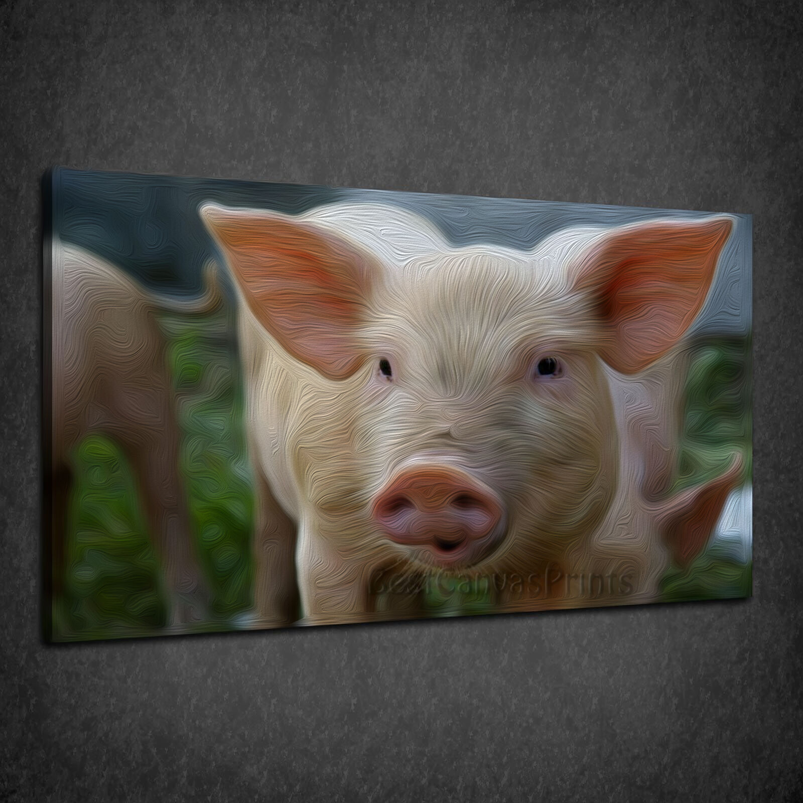 CUTE PIG ANIMAL PAINTING STYLE BOX CANVAS PRINT WALL ART PICTURE