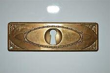Original antique pressed brass escutcheon plate keyhole chest furniture KP14