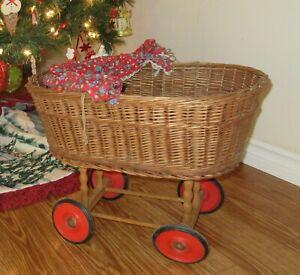 Vintage-50-039-s-Wicker-Doll-Stroller