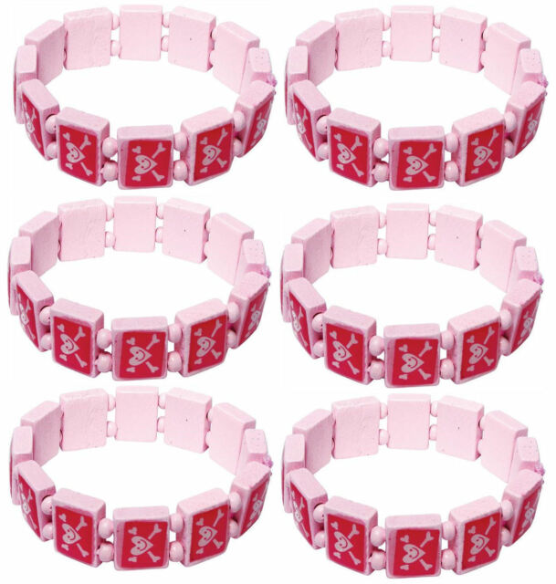 6 Pink Pirate Bracelets - Girl Pinata Loot/Party Bag Fillers Wedding