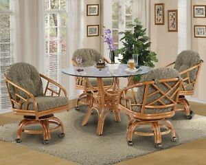 Rattan Swivel Caster Chairs And Table 5 Pieces Dining Set Choice Of Fabrics Ebay