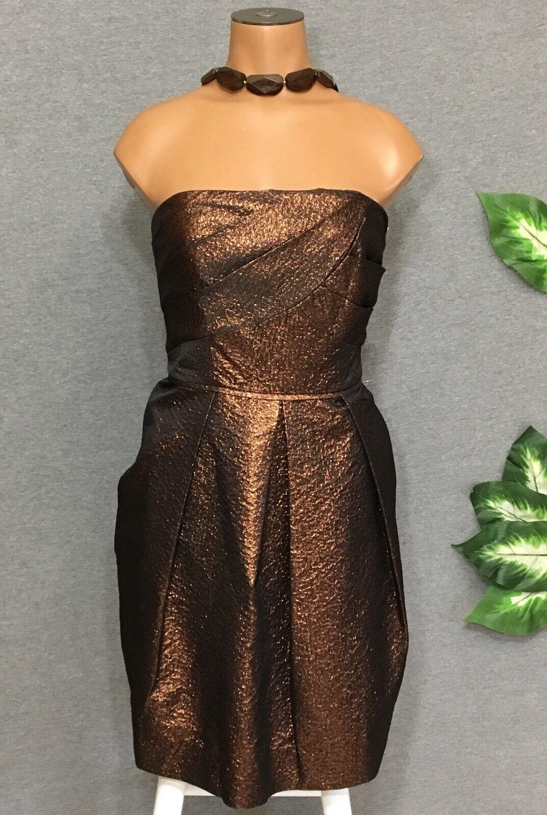 Shoshanna NEW damen Copper Dress 6 Strapless Metallic Prom Formal Party Pockets