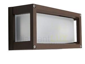 Applique da parete per esterno in alluminio e vetro rettangolare