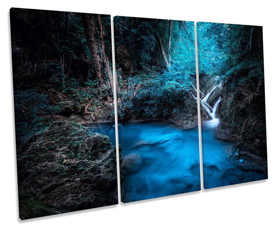 Blau Blau Blau Forest Waterfall River Picture TREBLE CANVAS WALL ART Print d4a437