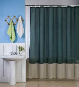 1 H10 HUNTER/TAUPE WATER REPELLENT SHADES FABRIC BATHROOM SHOWER CURTAIN