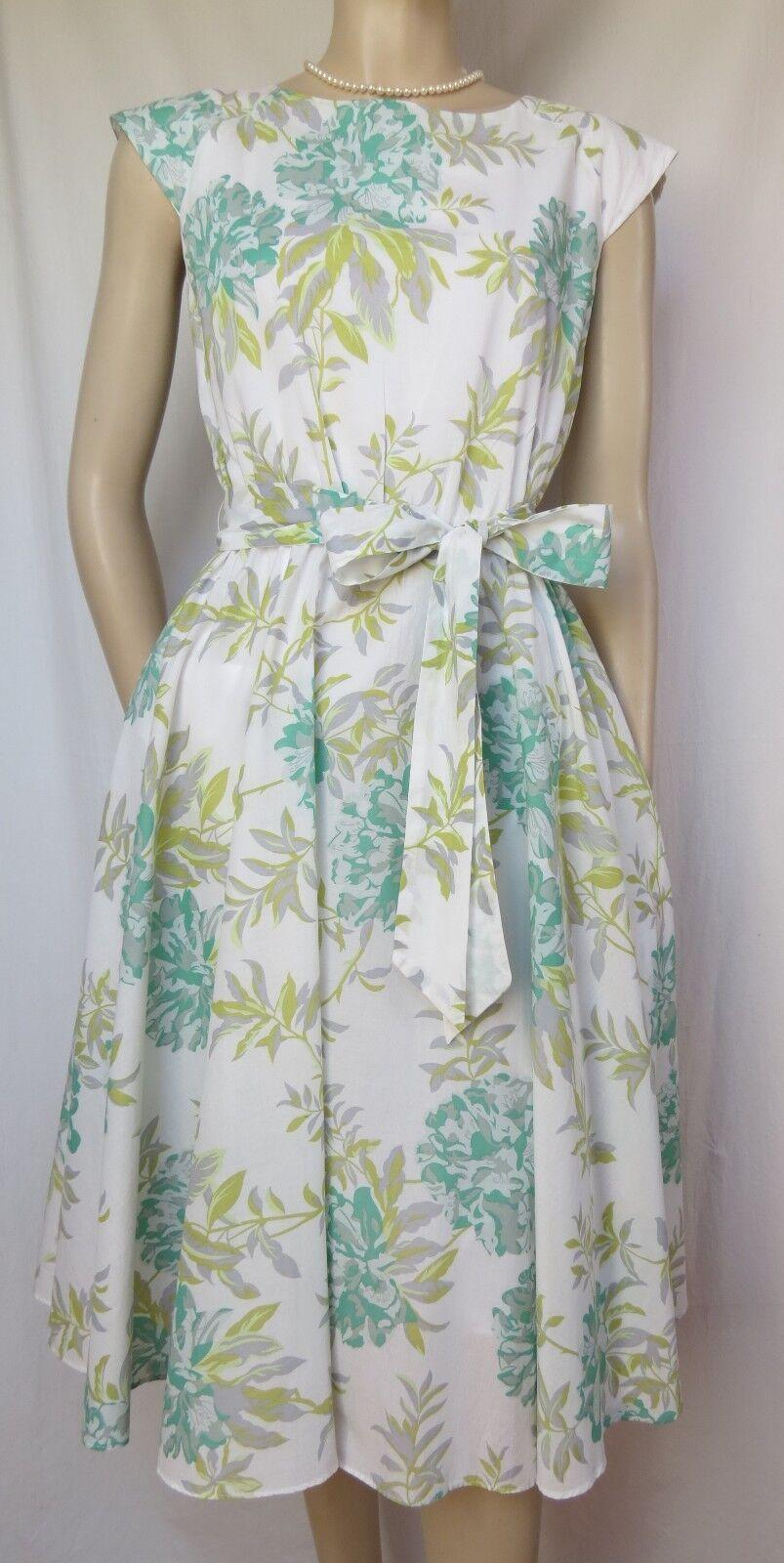 Laura Ashley Sommerkleid 38 kl. 40 Hochzeit weiß grün mint Blaumen Baumwolle