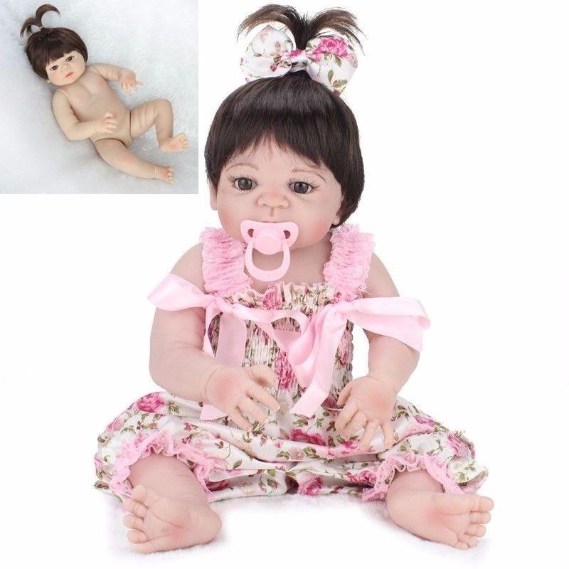 Lovely Full Body Silicone Vinile realistica 22  RINATO Baby Girl bambola morbida neonato