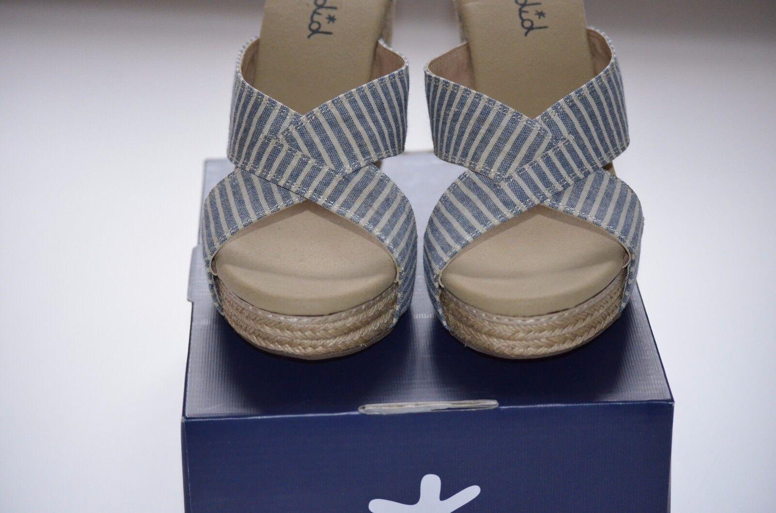 Splendid Women Blue/White Striped Platform Wedge Espadrille Slide Sandals Sz 10