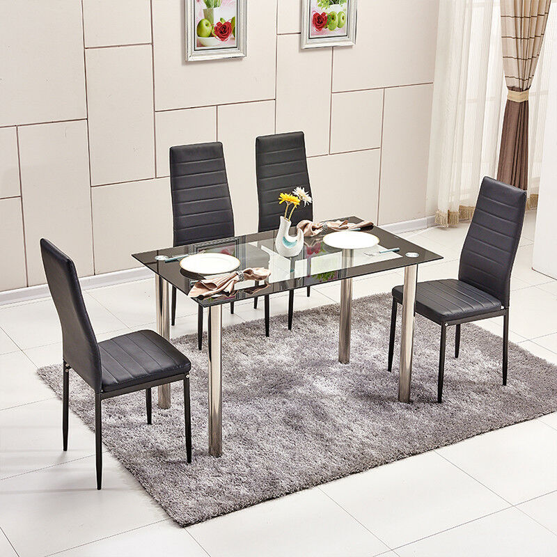 Modern Tempered Glass Dining Table Metal Legs Dining Room ...