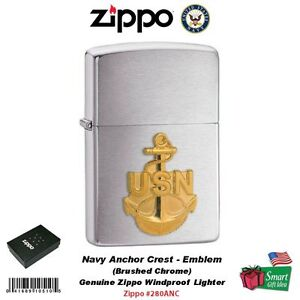 Zippo Navy Anchor Crest Emblem Lighter, Brushed Chrome, Windproof #280ANC 3040012989174