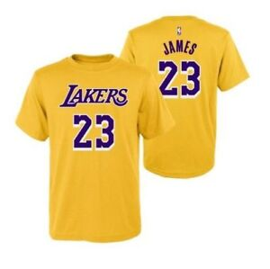 lowest price 44058 b1c28 Details about Youth Los Angeles Lakers LeBron James Yellow Name And Number  Jersey T-Shirt
