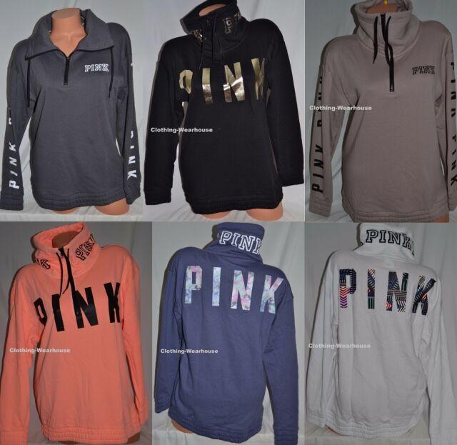 White//Orange Victorias Secret Pink Boyfriend Half-Zip Pullover Sweatshirt