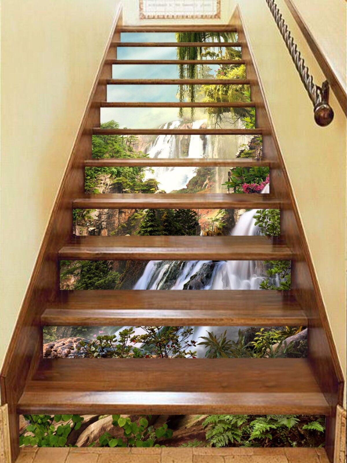 3D Mountain water Stair Risers Decoration Photo Mural Vinyl Decal Wallpaper AU