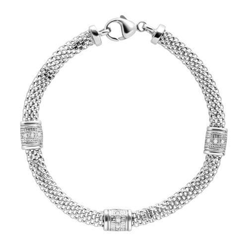 1/10 ct Diamond Station Mesh Cage Bracelet in Sterling Silver
