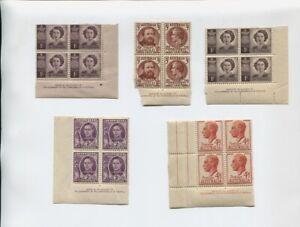5-Sets-of-corner-block-Stamps-Pre-Decimal-41l2d-2d-1d-3d-1d-J-751