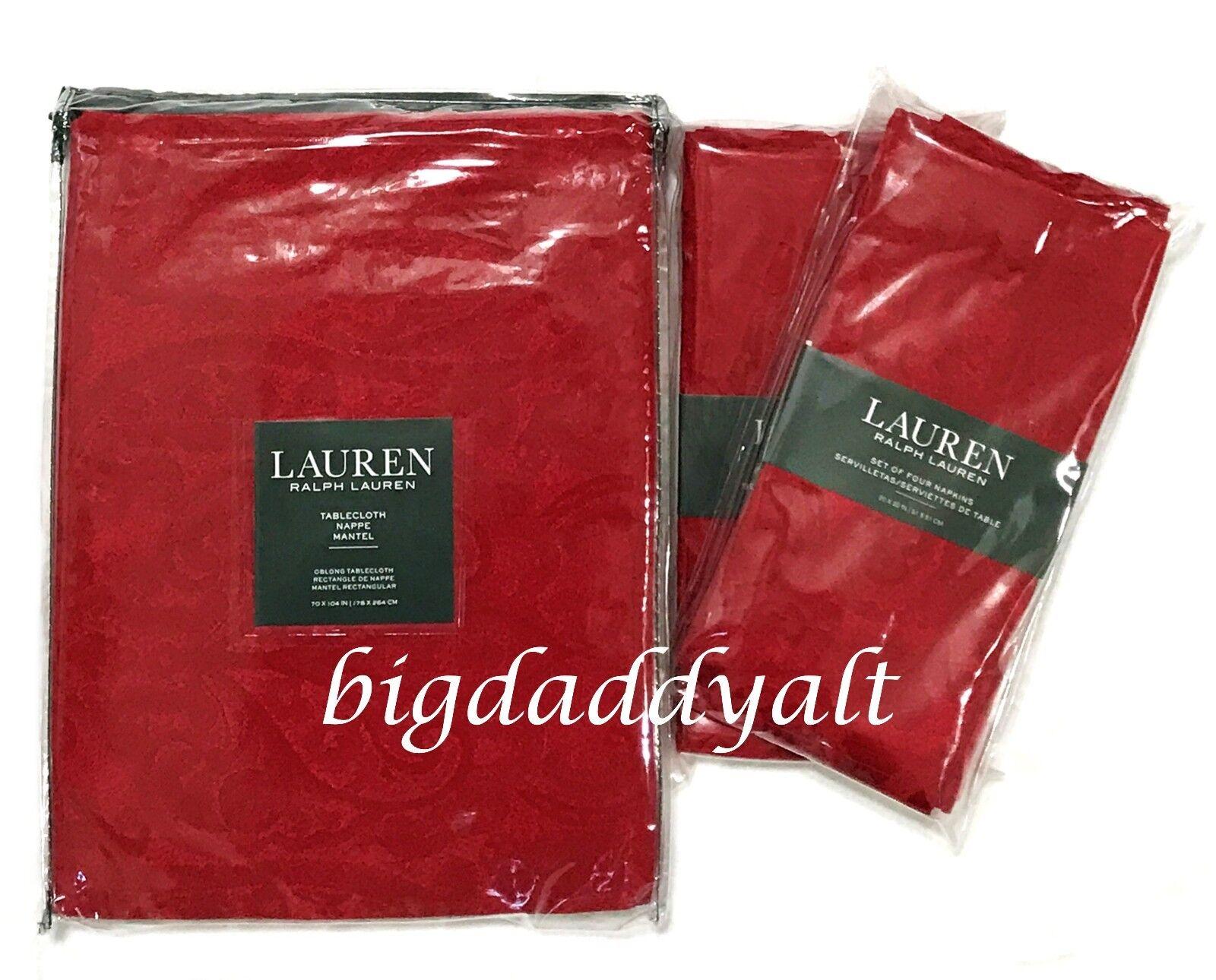 Nouveau Ralph Lauren Paisley Rouge Cranberry DAMASSE 8 SERVIETTES NAPPE 70 x 104 Set