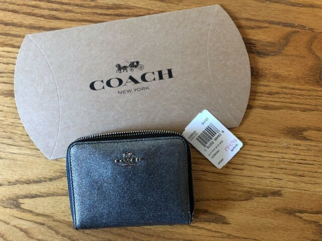 427dcf0ef349 COACH SMALL ZIP AROUND WALLET F29950 Glitter Patent Leather Silver New w  Folder