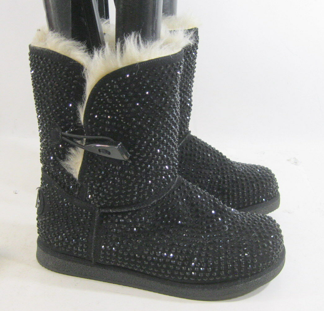 Urban Glitter Black Rhinestones Winter Ankle Sexy Boot Size 7