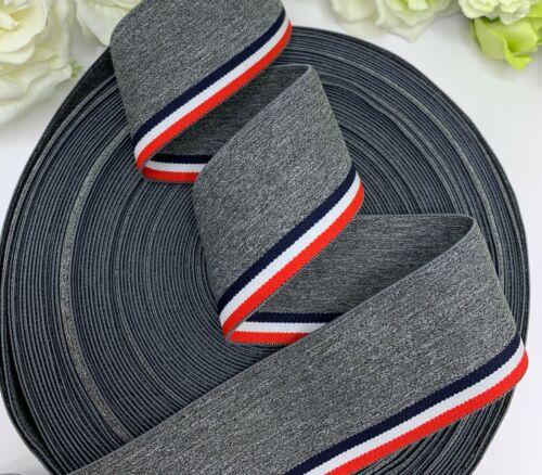 """1.75/"""" grey stripe woven elastic mens underwear waistband cuffs red white black"""