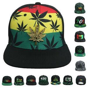Men/'s Rasta Weed Flag Leaf Camo Flat Peak All Over Snapback Cap Baseball Hat