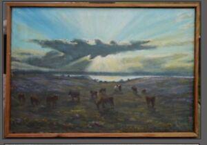 Beautiful-Original-Peder-K-Hansen-Oil-Canvas-Cows-Landscape