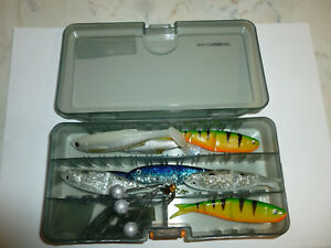 SAVAGE GEAR LURE BOX and 10 CANNIBAL SHADS 6.8CM LURES AND 2  BALL JIG HEADS