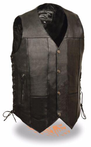 Men/'s Side Lace Motorcycle Biker Leather 10 Pocket Vest with inside Gun Pockets