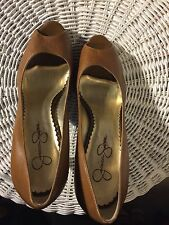 "Shoes, JESSICA SIMPSON, Tan leather, classic pump, open big toe, 4"" heel, 9B"