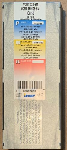 Iscar INSERT INDEXABLE VCMT 332 SM IC9250 ISCAR NO 5507003 5507003 10-pack New!